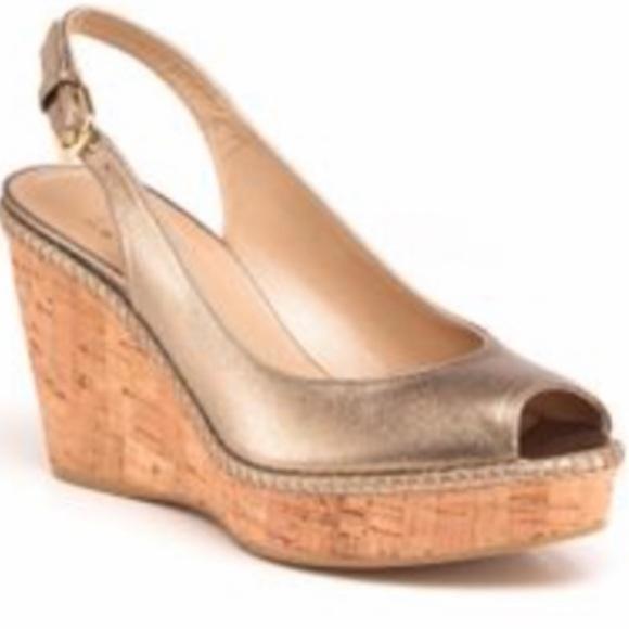 STUART WEITZMAN Jean metallic wedge sandals 8 1/2